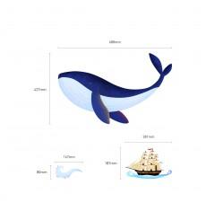 Sticker Baleine et Bateau Pirate