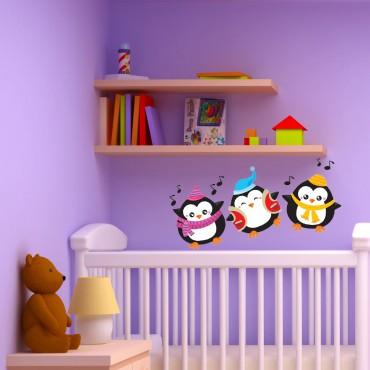 Sticker Pingouins joyeux - stickers animaux enfant & stickers enfant - fanastick.com