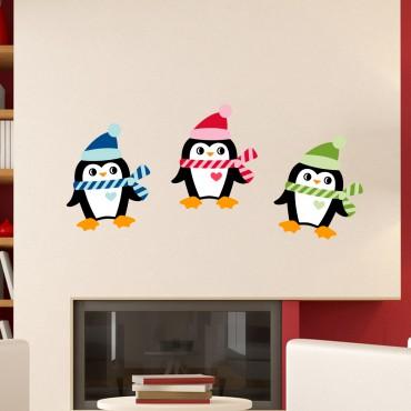 Sticker Pingouins de Noël - stickers noël & stickers muraux - fanastick.com