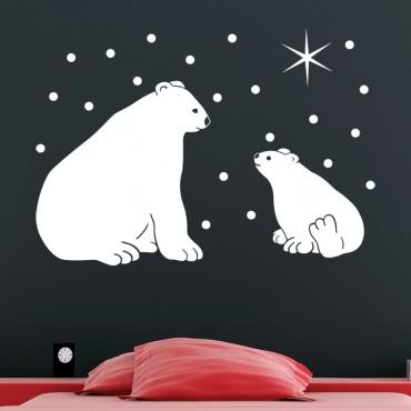 Sticker Ours polaire et étoiles - stickers animaux & stickers muraux - fanastick.com
