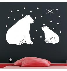 Sticker Ours polaire et étoiles