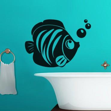 Sticker Poisson et bulles - stickers salle de bain & stickers muraux - fanastick.com