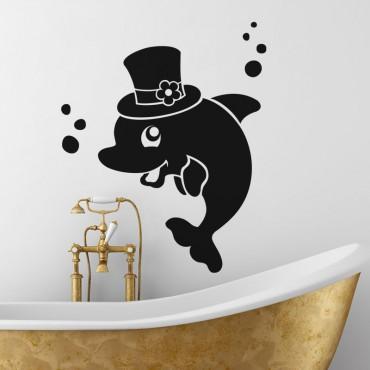 Sticker Dauphin portant un chapeau - stickers salle de bain & stickers muraux - fanastick.com
