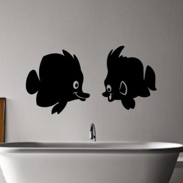 Sticker Couple poisson - stickers salle de bain & stickers muraux - fanastick.com