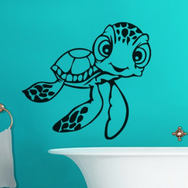 Sticker Tortue aux grands yeux - stickers salle de bain & stickers muraux - fanastick.com