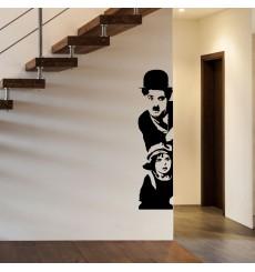 Sticker Charlie Chaplin et le gamin