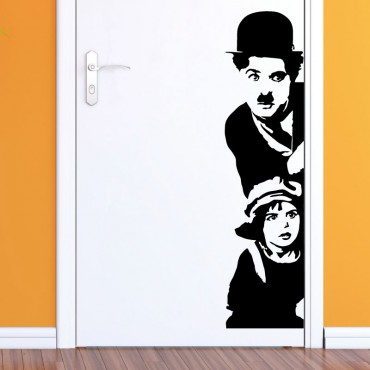 Sticker Charlie Chaplin et le gamin - stickers personnages & stickers muraux - fanastick.com