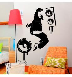 Sticker Danseur hip hop et baffles