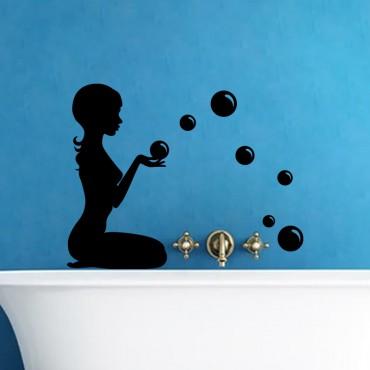 Sticker Silhouette femme avec des bulles - stickers salle de bain & stickers muraux - fanastick.com