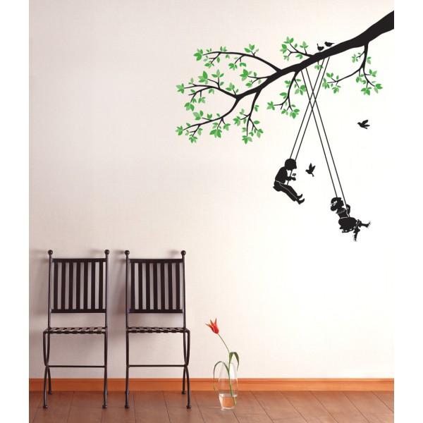 sticker arbre et enfants stickers arbre stickers muraux. Black Bedroom Furniture Sets. Home Design Ideas