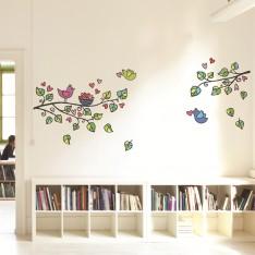 Sticker arbre, oiseaux et cœurs