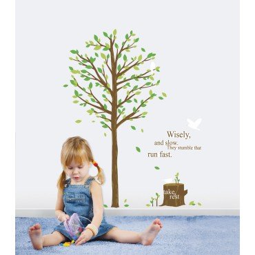 Sticker Arbre vert & oiseau - stickers enfants & stickers enfant - fanastick.com