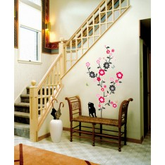 Sticker arbre en fleur, chat et papillons