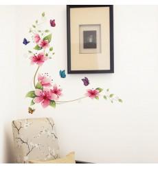 Sticker fleurs roses et papillons
