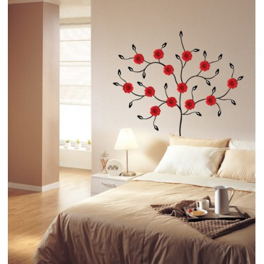 Sticker Arbre fleurs gerbera rouges - stickers arbre & stickers muraux - fanastick.com