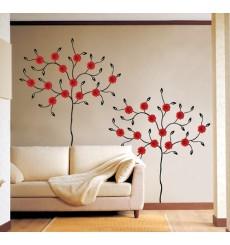 Sticker Arbre fleurs gerbera rouges