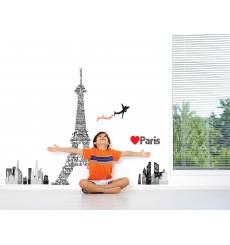 Sticker Tour Eiffel géante écritures