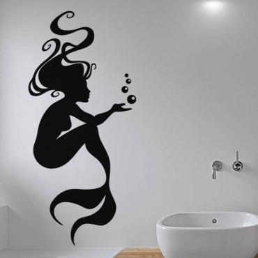 Sticker Sirène et bulles - stickers salle de bain & stickers muraux - fanastick.com