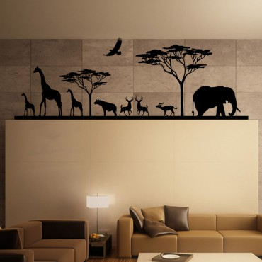 Sticker Savane Africaine et ses animaux - stickers salon & stickers muraux - fanastick.com