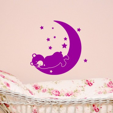 Sticker Ourson dormant sur la lune - stickers animaux enfant & stickers enfant - fanastick.com