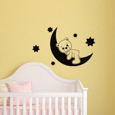 Sticker lune et ourson - stickers enfants & stickers enfant - fanastick.com