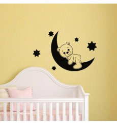 Sticker lune et ourson