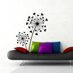Sticker Design fleurs coeurs