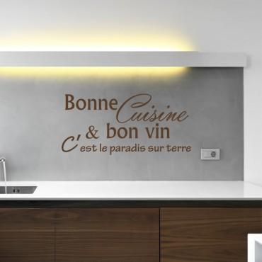 Sticker Bonne cuisine et bon vin, c'est ... - stickers citations & stickers muraux - fanastick.com