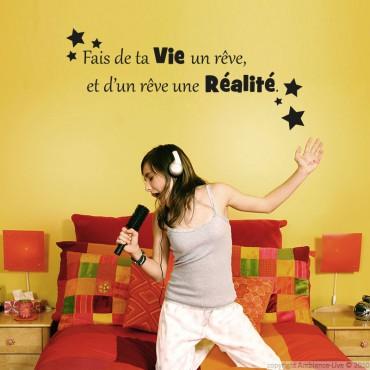 Sticker Fais de ta vie un rêve, et de ce rêve une réalité. - stickers citations & stickers muraux - fanastick.com