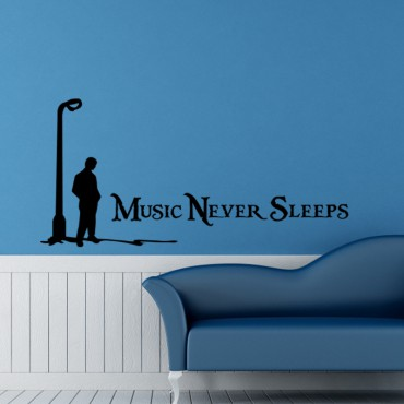 Sticker Music Never Sleeps - stickers citations & stickers muraux - fanastick.com