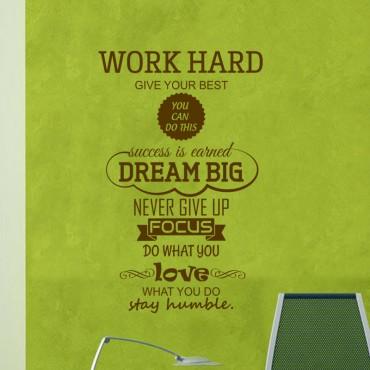 Sticker Work Hard, Dream Big - stickers citations & stickers muraux - fanastick.com