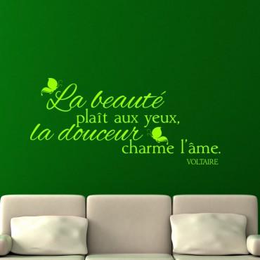 Sticker La beauté plaît aux yeux - Voltaire - stickers citations & stickers muraux - fanastick.com