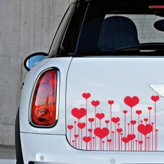 Sticker Champ fleurs coeurs
