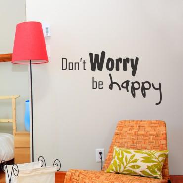 Sticker Worry Happy - stickers citations & stickers muraux - fanastick.com
