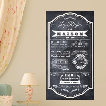 Sticker poster les règles de la maison style ardoise - stickers citations & stickers muraux - fanastick.com
