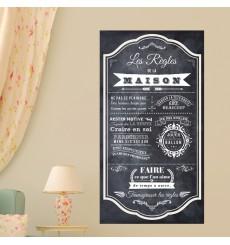 Sticker poster les règles de la maison style ardoise