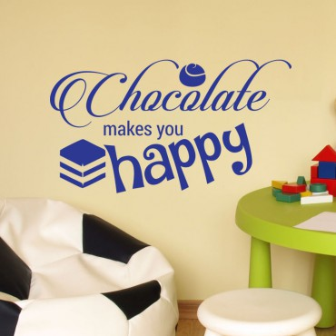 Sticker Chocolate makes you happy - stickers citations & stickers muraux - fanastick.com