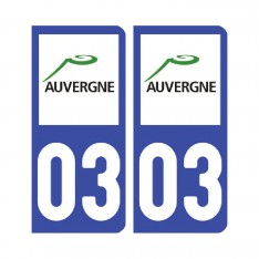 Sticker plaque Allier 03 - Pack de 2