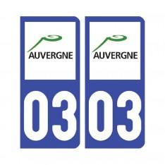 Sticker plaque Allier 03 - Pack de 2