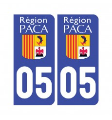 Sticker plaque Hautes-Alpes 05 - Pack de 2