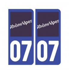 Sticker plaque Ardèche 07 - Pack de 2