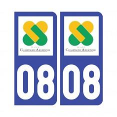 Sticker plaque Ardennes 08 - Pack de 2