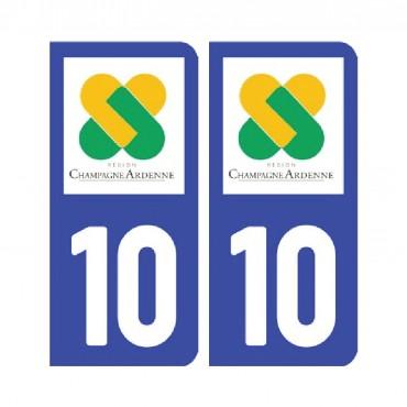 Sticker plaque Aube 10 - Pack de 2 - tous les départements & stickers muraux - fanastick.com
