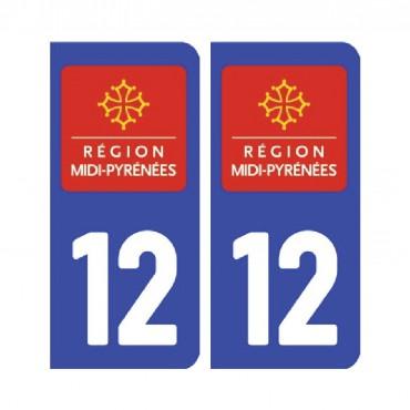 Sticker plaque Aveyron 12 - Pack de 2 - languedoc-roussillon-midi-pyrénées & stickers muraux - fanastick.com