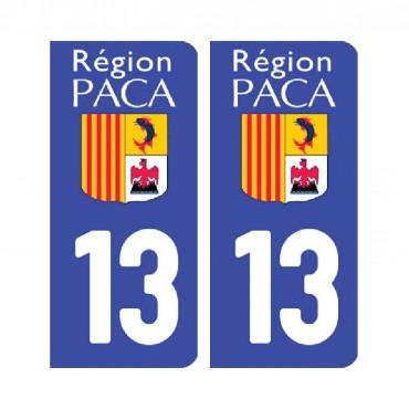 Sticker plaque Bouches-du-Rhône 13 - Pack de 2 - provence-alpes-côte d'azur & stickers muraux - fanastick.com