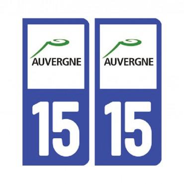 Sticker plaque Cantal 15 - Pack de 2 - auvergne-rhônes-alpes & stickers muraux - fanastick.com