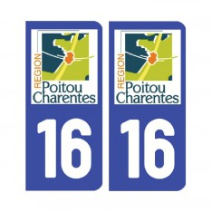 Sticker plaque Charente 16 - Pack de 2
