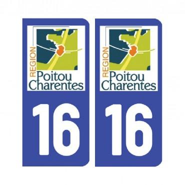 Sticker plaque Charente 16 - Pack de 2 - aquitaine-limousin-poitou-charentes & stickers muraux - fanastick.com