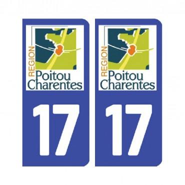 Sticker plaque Charente-Maritime 17 - Pack de 2 - aquitaine-limousin-poitou-charentes & stickers muraux - fanastick.com