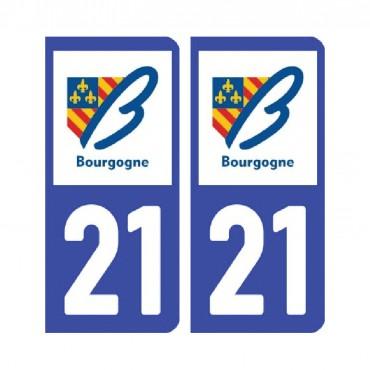 Sticker plaque Côte-d'Or 21 - Pack de 2 - bourgogne-franche-comté & stickers muraux - fanastick.com
